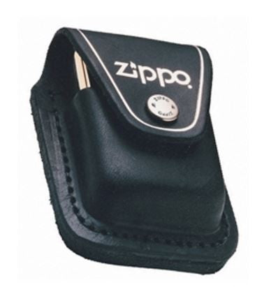 Lighter Pouch Black Leather With Zippo Logo
