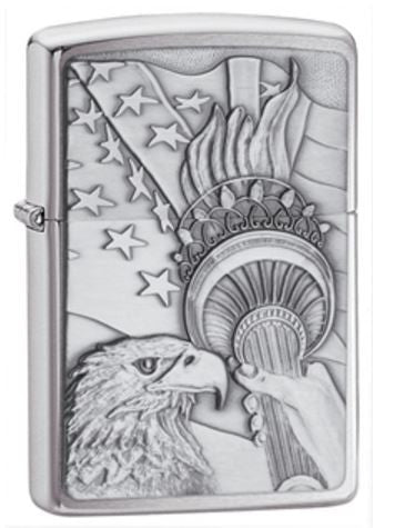 Classic Brushed Chrome Bald Eagle Zippo Lighter