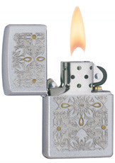 Classic Satin Chrome Gold Accents Zippo Lighter