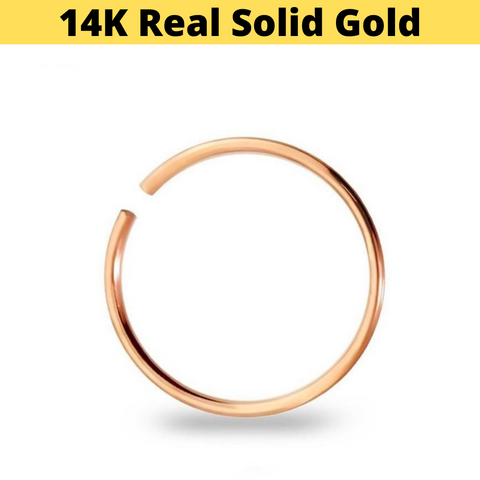 14K Rose Gold Bendable Clip On Hoop