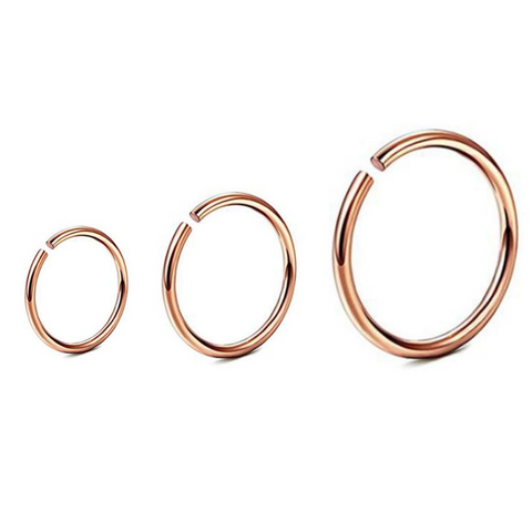 Rose Gold Titanium Clip on Hoop