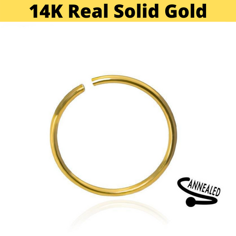 14K Yellow Gold Bendable Clip On Hoop