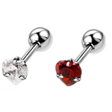 Prong Set 3,4,5mm CZ Heart Helix Tragus Barbell