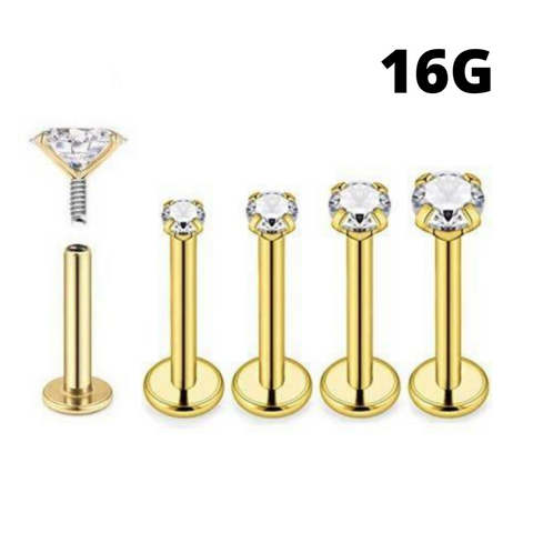 16G Gold Internally Threaded Round CZ Prong Set Tragus Labret