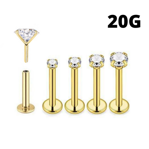 20G Gold Threadless Push Round CZ Prong Set Tragus Labret