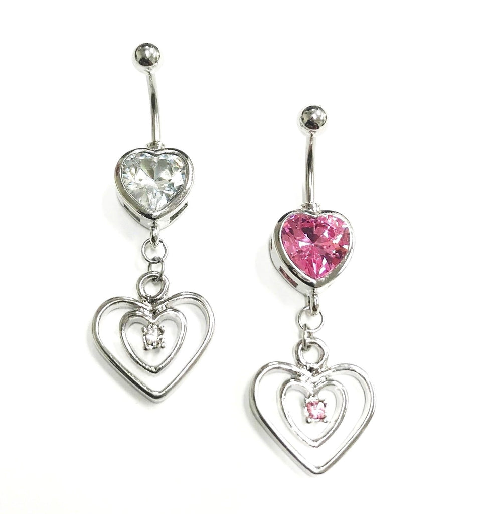 Double CZ Hearts Dangle Belly Ring