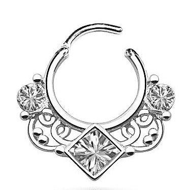 Fancy CZ Septum Round Clicker
