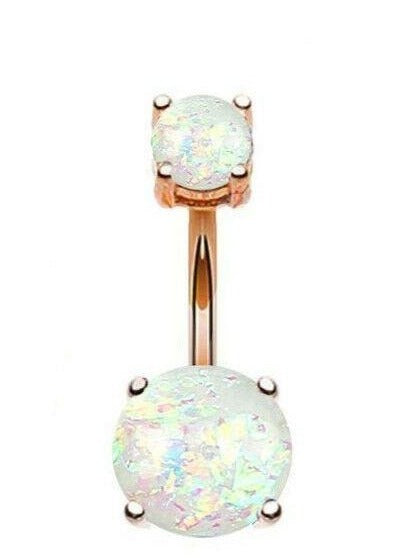 Rose Gold Double Opal Prong Set Belly Ring