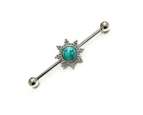 Turquoise Tribal Sun Industrial Barbell