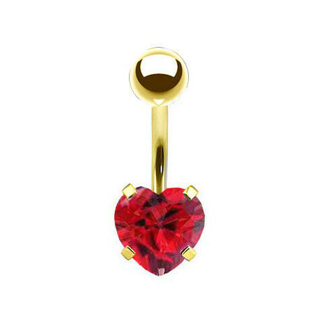 Gold Titanium Prong Set Ruby Heart CZ Belly Ring