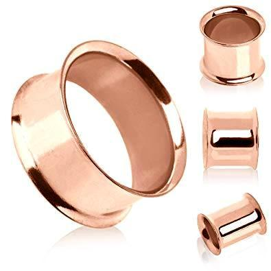Rose Gold Double Flared Tunnel 6G-1/2""
