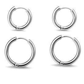 Stainless Steel Jewelry Wholesale I Ear Hinged Hoop Earrings