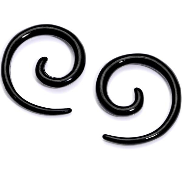 14G Black Acrylic Spiral Curved Taper