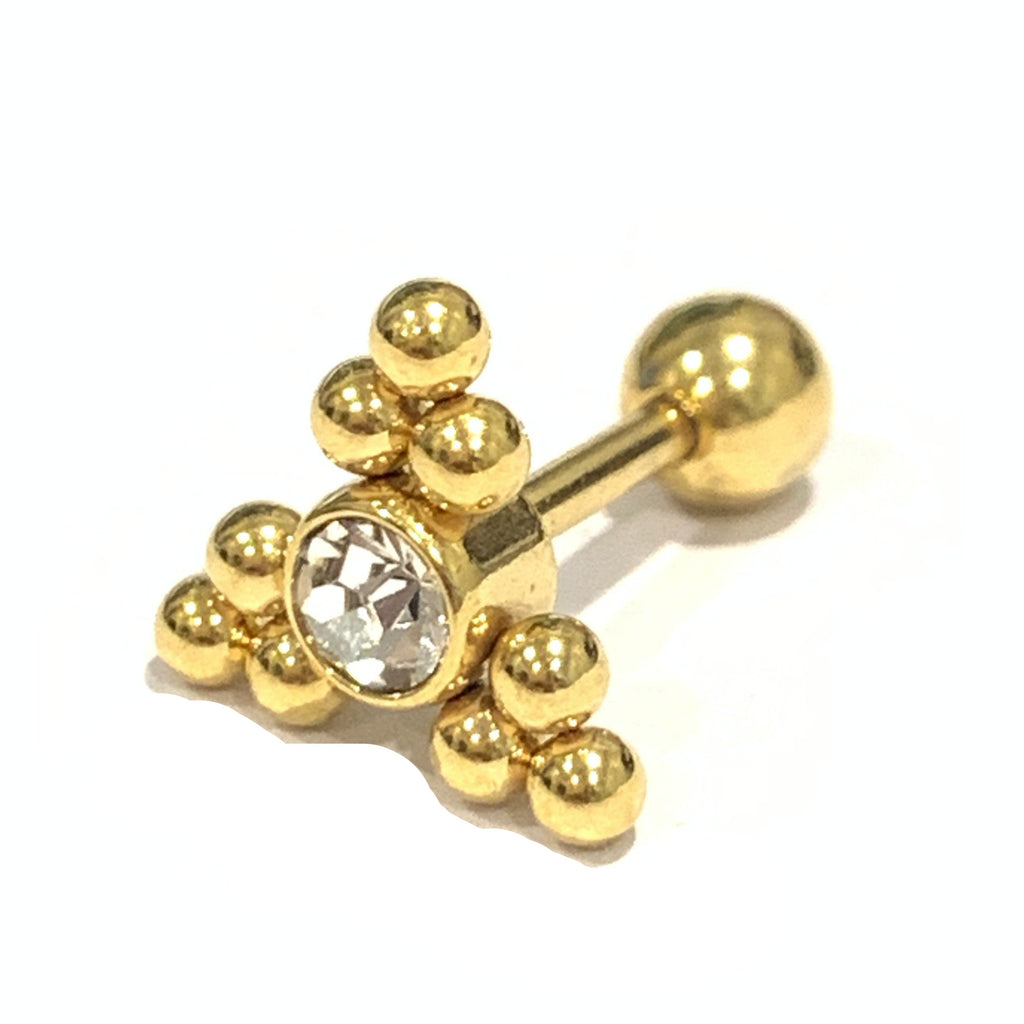Gold Triangle CZ Bead Cluster Tragus Barbell