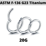 G23 20G Titanium Hinged Segment Clicker Ring