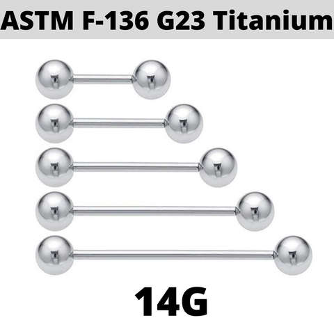 G23 14G Solid Titanium Barbell