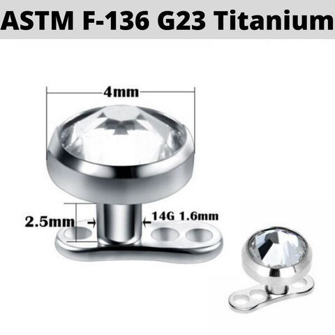 G23 Titanium Dermal Anchor 4mm CZ Combo Set