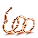 18G 16G 14G Rose Gold Hinged Segment Clicker Ring