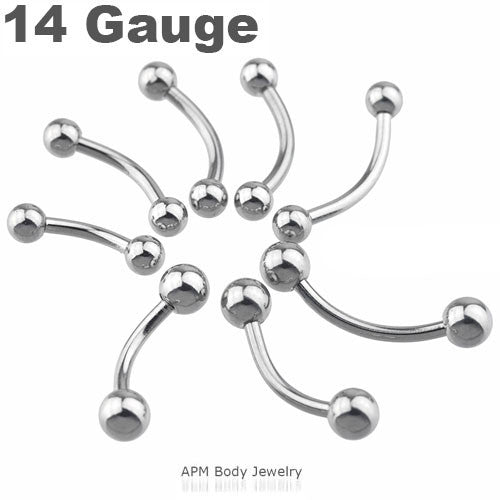 "14G Steel Curved Barbell 5/16""-1/2"""