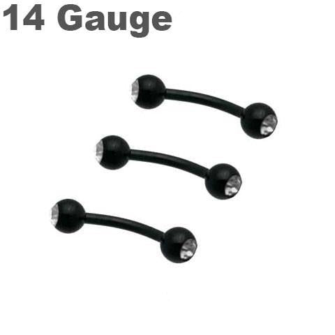 14G Black Titanium Double Gem Curve Barbell