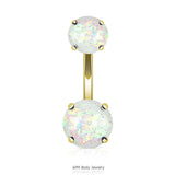 Opal Gold Titanium Double Prong Set Belly Ring