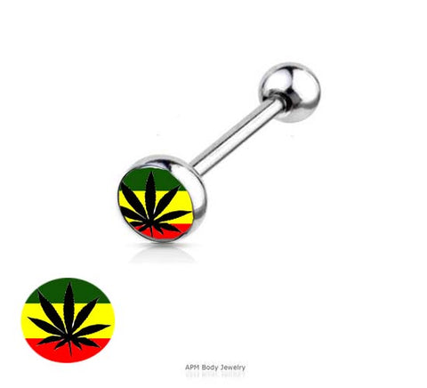 Rasta Pot Logo Tongue Ring