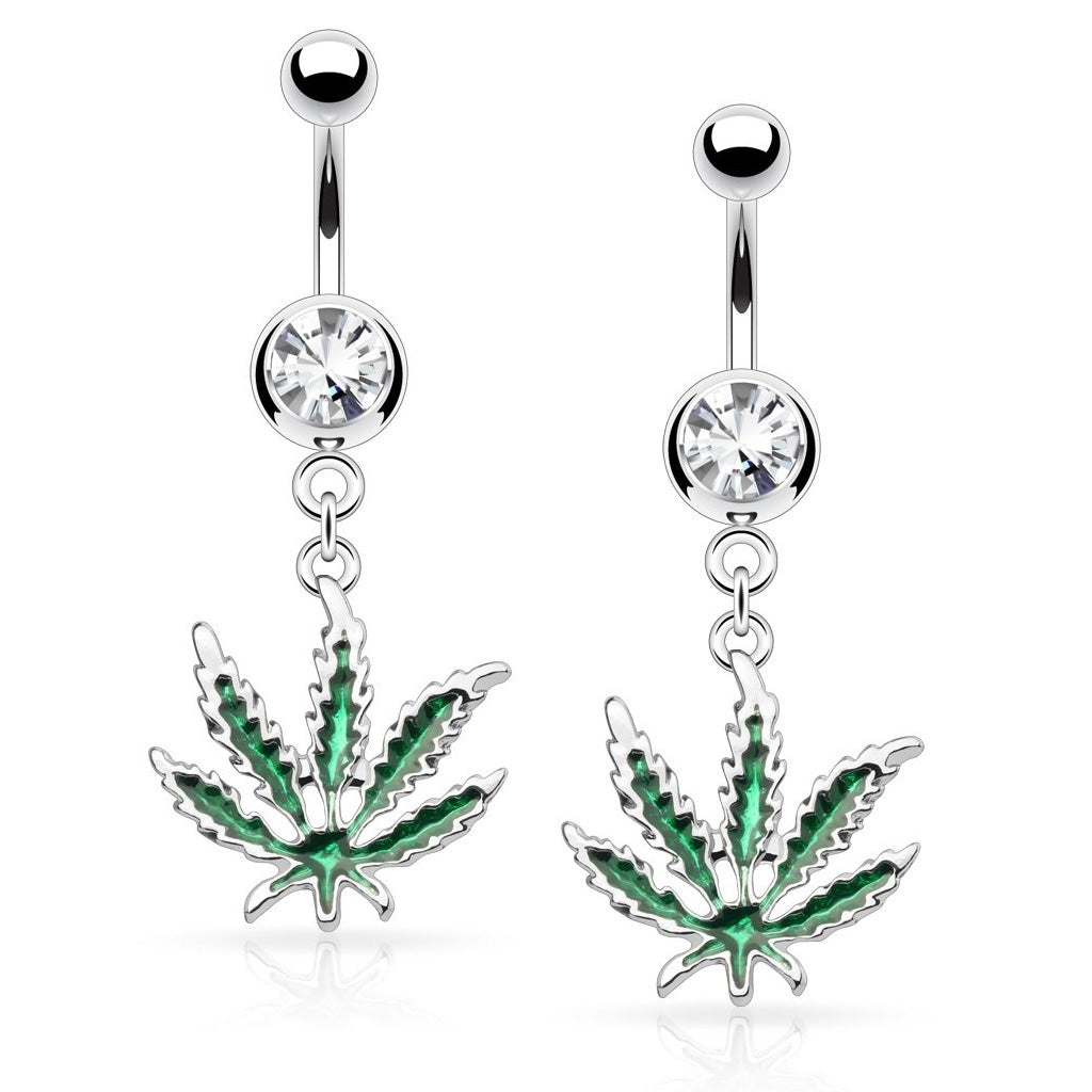 Enamel Pot Leaf CZ Dangle Belly Ring