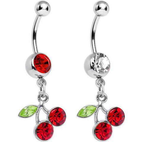 Cherry CZ Dangle Belly Ring
