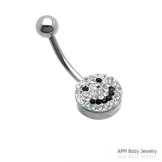 Crystal Ferido Pave Smiley Belly Ring