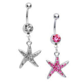 Starfish CZ Dangle Belly Ring