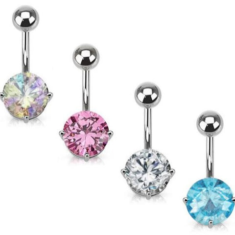 Prong Set Round CZ Belly Ring