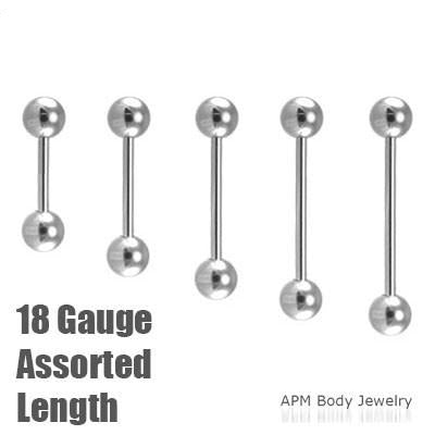 18G Stainless Steel Barbell