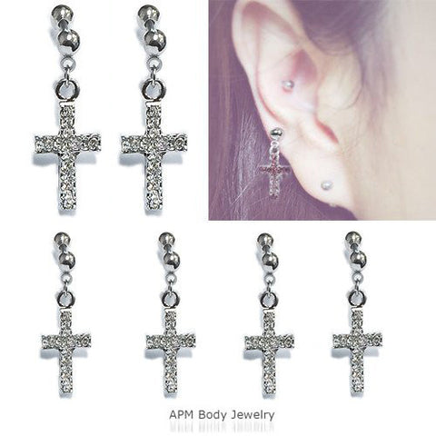 Prong Set CZ Dangle Cross Tragus Barbell