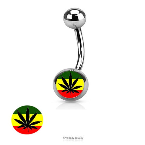 Rasta Pot Logo Belly Ring