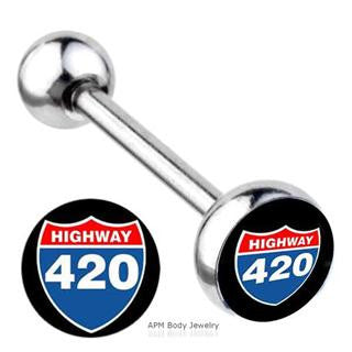 Highway 420 Logo Tongue Ring