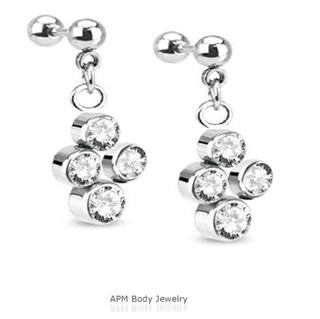 Multi CZ Dangle Tragus Barbell