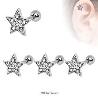 CZ Paved Star Tragus Barbell