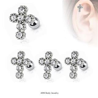 CZ Cross Tragus Barbell