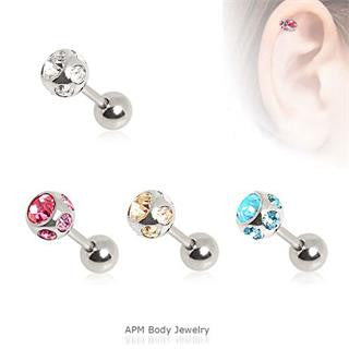 Multi CZ Tragus Cartilage Barbell