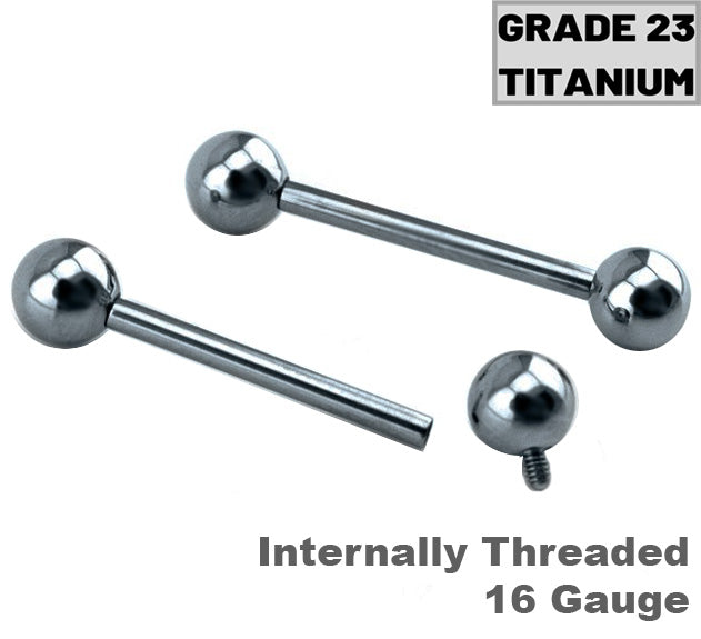 Grade23 Internally Threaded 16G Titanium Tragus Barbell