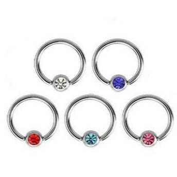 16G CZ Gem Captive Ring