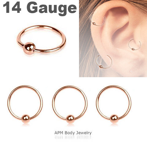 14G Rose Gold Titanium Captive Ring