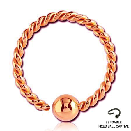 20g 22g Rose Gold Braided Fixed Ball Captive Hoop