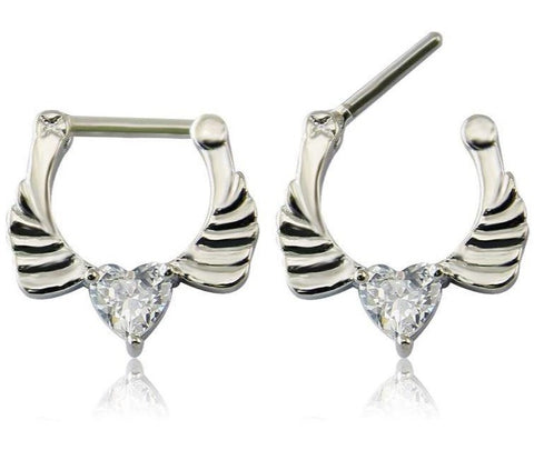 Wing CZ Heart Septum Clicker