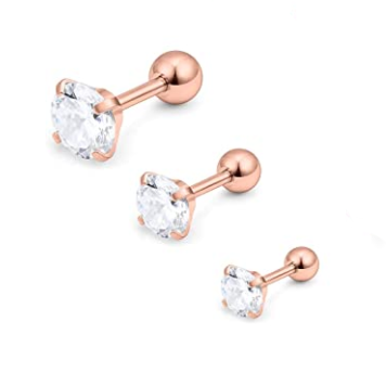 Rose Gold Prong Set CZ Tragus Barbell