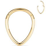 16G Gold Chevron Teardrop Hinged Clicker