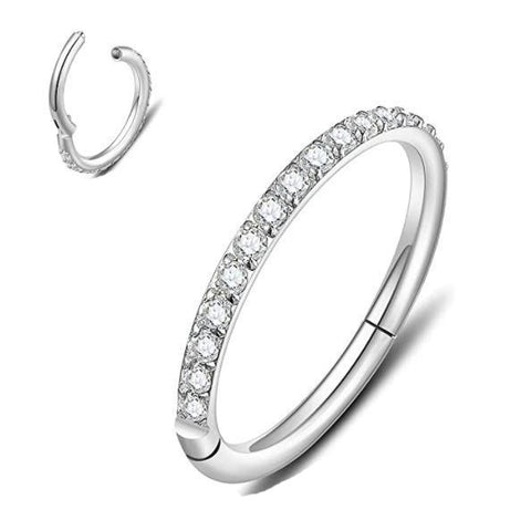 Precise Steel Paved CZ Rim Hinged Segment Clicker Ring