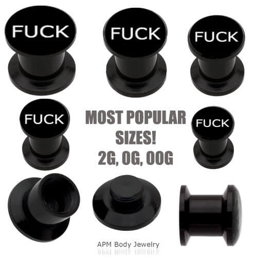 Black Acrylic F Word Stash Plug