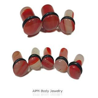 Red Agate Stone Single Flared Plug