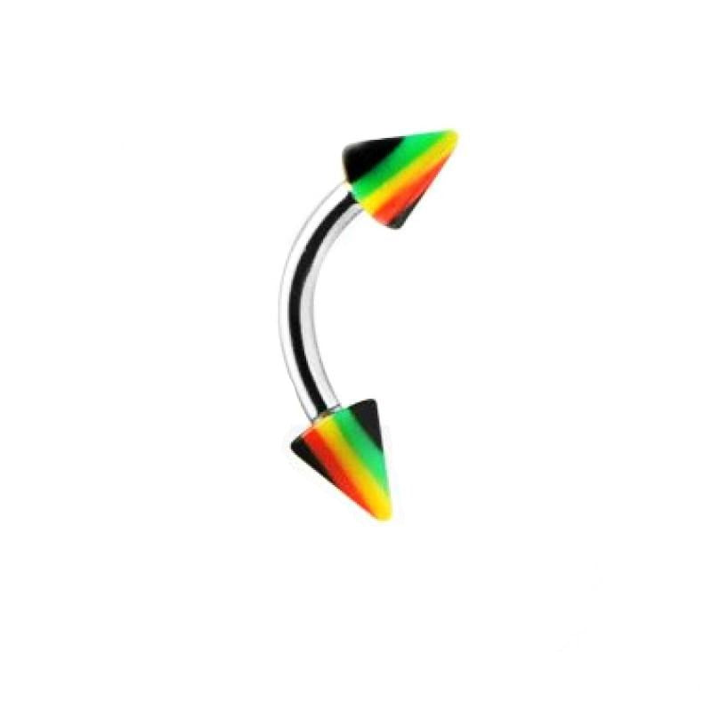 Jamaican Rasta Stripe Spike Curved Barbell